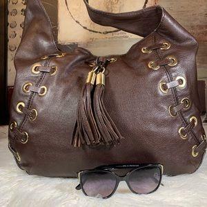 Michael Kors Chocolate Tassel Hobo Handbag Large